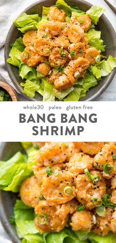 These bang bang shrimp are crispy tender spicy and creamy They make a fantastic dinner recipe and are paleo gluten-free grain-free refined-sugar-free and nut-free Tossed in a sriracha-spiked creamy sauce these bang bang shrimp are s Great Dinner Recipes, Whole30 Dinner Recipes, Clean Eating Recipes For Dinner, Clean Eating Snacks, Whole Food Recipes, Sugar Free Recipes Dinner, Whole30 Shrimp Recipes, Keto Dinner, Shrimp Dinner Recipes
