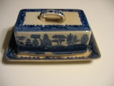 Antique Blue Willow Covered Cheese Butter Dish Transferware China RARE Japan | eBay