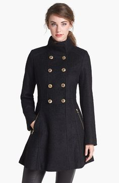 GUESS Fit & Flare Bouclé Military Coat (Online Only) available at #Nordstrom