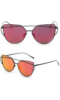 Women Fashion Twin-Beams Classic Metal Frame Mirror Sunglasses (Red) Top Gifts, Best Gifts, Unique Gifts, Beams, Mirrored Sunglasses, Twin, Metal, Classic, Womens Fashion