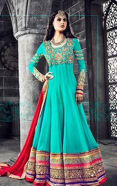 Tantalizing Turquoise Floor Length Anarkali Salwar Kameez