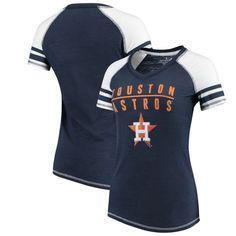 ac438956 Houston Astros Soft as a Grape Women's Color Block V-Neck T-Shirt – Navy