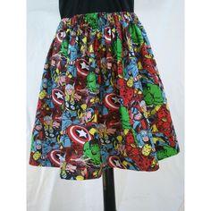 Superhero Full Skirt Made From Avengers Fabric Captain America... ($35) ❤ liked on Polyvore featuring skirts, dark olive, women's clothing, long full skirt, comic book, long skirts, olive skirt and army green skirt