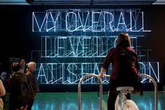 This white bicycle that powers a typographic installation at Museum of Contemporary Art in LA.  I think this is successful interaction design, because the vistors use bicycle to get the typographic light. It is a good idea and interact with people.  And I also saw similar one at Powehouse Museum. Let power is changed to electric power. That is use bicycle get the radio, wipers, lights and sirens to come on.