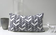 storm grey and white Brick cushion 30x50cm. $65,00, via Etsy.