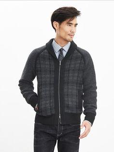 Plaid Shawl Sweater Jacket