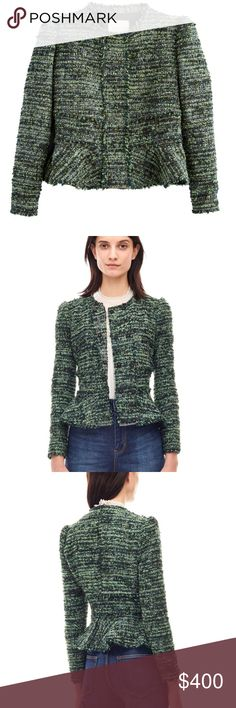 NWT Rebecca Taylor Green Tweed Peplum Jacket 4 New with tags, never worn Rebecca Taylor Jacket size 4. Rebecca Taylor Jackets & Coats