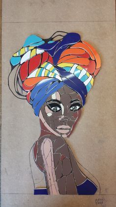 Gele, African woman with head wrap. Inspired by a digital painting by Maryam Elkayal. Ceramic tiles, all hand made. By Jacqueline Misset