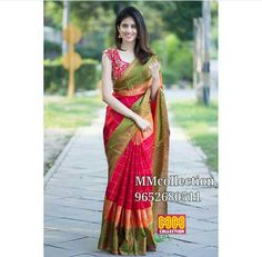 Material : Pure silk *Blouse :Pure silk *Saree length :6.3 (meters with blouse) *fabric care:Dry clean