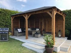 Our heavy-duty Atlas Gazebo is designed to provide the perfect area for your garden, come rain or shine. This gazebo is perfect for parties. Wooden Garden Gazebo, Backyard Gazebo, Backyard Patio Designs, Outdoor Pergola, Backyard Ideas, Pressure Treated Timber, Roof Design, Garden Projects, Garden Ideas