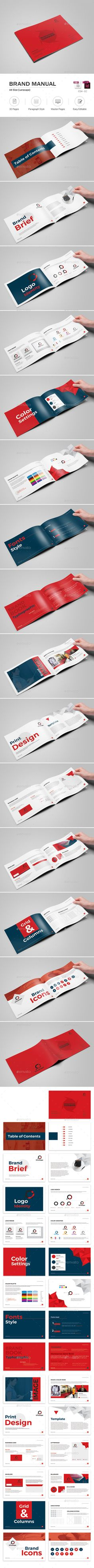 Minimal and Professional Brand Manual Landscape Brochure Template ...