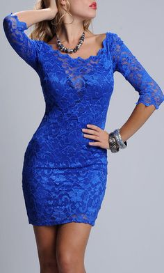 Electric Blue Kaithleen Lace Dress