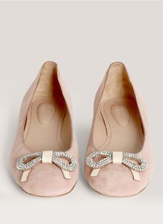 bow-embellished suede ballerina flats