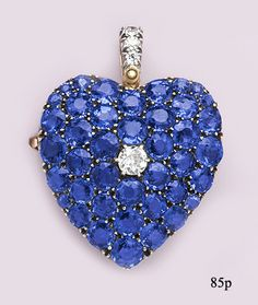 Pavé Montana Sapphire, Diamond, Gold Platinum Heart Pendant/Brooch by Johnson, Walker & Tolhurst, London
