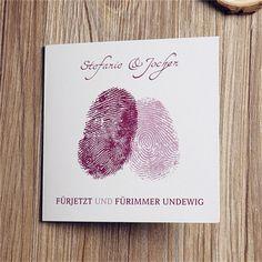 kreative Fingerabdruck Herz Einladungskarten OPL014 Neue Einladungskarten zur Hochzeit 2014 bei optimalkarten.de!