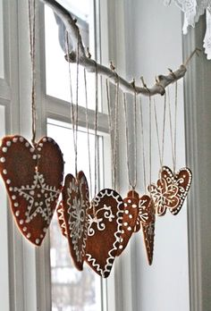 by VIBEKE DESIGN. I would make these from gingerbread cookies and hang in the kitchen or dining room for the holidays ! Nordic Christmas, Noel Christmas, Winter Christmas, Christmas Cookies, Christmas Windows, Modern Christmas, Scandinavian Christmas Ornaments, Christmas Kitchen, Elegant Christmas