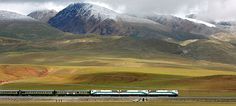 Beijing-Lhasa Express: The first train from Lhasa Railway Station travels on the Tibetan grasslands near Lhasa, Tibet. Description from usatoday30.usatoday.com. I searched for this on bing.com/images