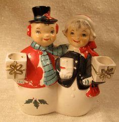 Vintage Ucagco Ceramic snowman snow woman candle by weddingparties, $30.00