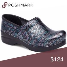 "New! Women's Pro Henna Floral Patent Clogs All shoes new in box! Not a lower price around!  SIZE: 36 (5.5-6), 37 (6.5-7), 38 (7.5-8), 39 (8.5-9), 40 (9.5-10), 41 (10.5-11) HEEL HEIGHT: 2"" MATERIAL: Patent Leather COLOR: Blue/Purple/Silver  *100/07* Dansko Shoes Mules & Clogs"