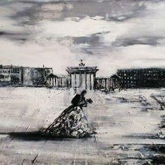 Gemälde Berlin, Gemälde Frau im Ballkleid, Gemälde schwarz weiß, Gemälde modern Berlin, Gemälde Berlin, Gemälde Liebespaar, Gemälde Liebe, Gemälde Romantik