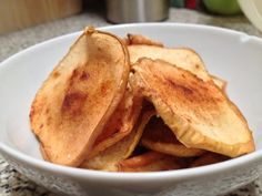 Sliced apple with Truvia and Cinnamon. Great, healthy snack. Bake at 180 deg C for 30 mins then turn down to 150 for a further 25-30 mins. The Truvia caramelises and you end up with a lovely Toffee-apple taste. Make sure you leave to cool on wire rack for 15 mins after to allow the apples to crisp up.