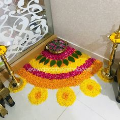 Corner flower rangoli design for Diwali festival Rangoli Designs - India Rangoli Designs Flower, Colorful Rangoli Designs, Rangoli Ideas, Rangoli Designs Diwali, Flower Rangoli, Rangoli With Flowers, Diwali Decorations At Home, Festival Decorations, Flower Decorations