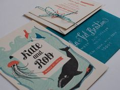 """Designed by Katie from Rocket Ink, the invitation features a four-color illustration of native New Zealand marine life on one side and text on the other, along with a reception card and other enclosures. Letterpress Wedding Invitations, Wedding Stationary, Invites, Wedding Greetings, Sea Theme, Nautical Theme, Wedding Invitation Inspiration, Reception Card, Branding"