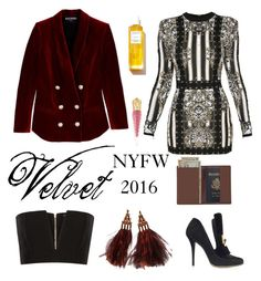 """V for VELVET (13 sept 2016)"" by eiliana ❤ liked on Polyvore featuring Rodin, Balmain, Louis Vuitton, Royce Leather and Christian Louboutin"