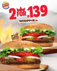 Burger King 2 for Promo is taking your gastronomic adventure to another level! Enjoy two WHOPPER Jr for just til Dec 2018 Free Mcdonalds, Mcdonalds Gift Card, Burger King Vouchers, Burger King Whopper, Football Birthday Cake, Restaurant Offers, Food Design, Hamburger, Food And Drink