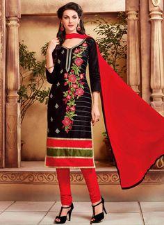 Buy best designer salwaar suits. Grab this cotton   black embroidered work churidar suit.