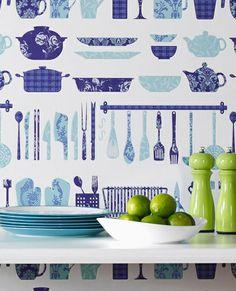 Blue and white crockery print wallpaper. #Scandi, #print, #pattern http://www.worldstores.co.uk/p/Contour_Making_a_Crockery_Wallpaper_in_Blue_10m_Roll.htm