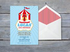 CIRCUS Birthday Invitation. Printable file 7x5. Print or email your own.