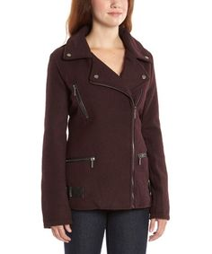 Take a look at this Burgundy Asymmetrical Zip-Up Coat on zulily today!