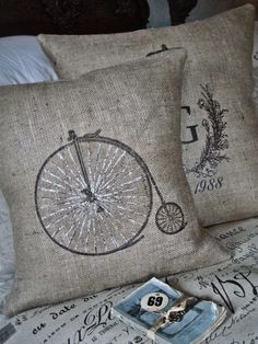 Burlap Pillow Slipthe Bicycle by JolieMarche on Etsy Burlap Pillows, Sewing Pillows, Custom Pillows, Decorative Pillows, Throw Pillows, Pillow Fight, Vintage Pillows, Cool House Designs, Soft Furnishings