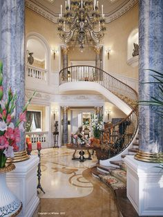 Architecture,Mesmerizing Luxury Villa Staircase Home Design With Beautiful Black Chandelier And Elegant Horse Sculpture Feat Pink Flower Decorations,Exceptional Luxury Staircase Interior Design Ideas Villa Interior, Mansion Interior, Luxury Interior, Mansion Bedroom, Interior Stairs, Beautiful Interiors, Beautiful Homes, Modern Interiors, Luxury Staircase