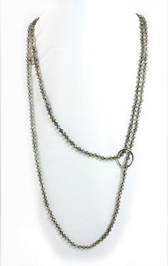 Fabulous Labradorite Facet Cut Long Necklace with Sterling Silver Pearl Shortener   KenSuJewelry.com