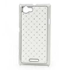 Θήκη από σκληρό πλαστικό με διακόσμηση από αστραφτερά στρασάκια για Sony Xperia L – λευκό