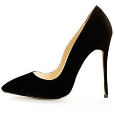 Sophie Black Suede Heeled Stiletto ($14) ❤ liked on Polyvore featuring shoes, pumps, heels, sapatos, high heels, high heel pumps, stiletto heel pumps, sexy black pumps, high heels stilettos and heels & pumps