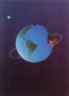 Satellites of Pig - Michael Sowa, Wikipaintings Michael Sowa, Wilhelm Busch, Berlin, The Beautiful South, Pig Art, Good Night Moon, Flying Pig, Collage, Humor Grafico