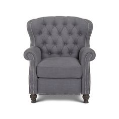 This timeless piece of furniture catches the eye and lends a classic, vintage feel to any living space. The Cambridge recliner chair features an elegant button tufted back and hand-applied silver nail