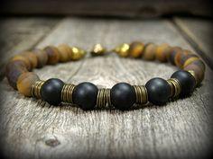 Bracelet for Men, Matte Tiger Eye Bracelet, Mens Bracelet, Mens Jewelry, Matte Onyx Bracelet, by StoneWearDesigns