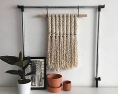 Your place to buy and sell all things handmade Large Macrame Wall Hanging, Macrame Projects, Macrame Knots, Loom Weaving, Cotton Rope, Wall Hanger, Textiles, Ladder Decor, Modern