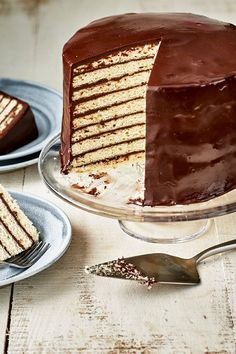This white cake with chocolate ganache icing is a delicious cake recipe! Bake the best layered cake and chocolate icing using baking chocolate, buttermilk, and vanilla. You will love baking this white cake and chocolate ganache icing for dessert!