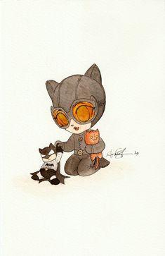 Batman and Catwoman Catwoman Comic, Catwoman Cosplay, Batman And Catwoman, Baby Marvel, Batman Love, Batman Drawing, Chibi Cat, The Dark Knight Rises, You Draw