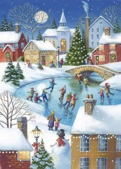 Jigsaws, This jigsaw features a village scene at Christmas, all gathered an a frozen lake in the village centre in the moonlight. ,Ice Skating at Christmas Jigsaw Puzzle, available in our Jigsaw Puzzle Shop Christmas Town, Old Fashioned Christmas, Christmas Scenes, Noel Christmas, Vintage Christmas Cards, Christmas Pictures, Xmas Cards, Christmas Projects, Winter Christmas