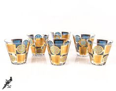 6 Mid Century Modern Blue / Teal and Two-Tone Gold Squares and Sunbursts / Circles - Large Rocks / Lowball Glasses - Mad Men / Fred Press
