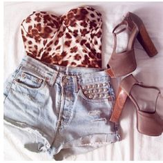 Crop corset, high waisted jean shorts, and the most amazing shoes!