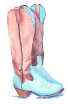 Cute watercolor cowboy boots! Blue/turquoise and brown painting