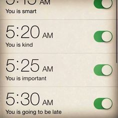 This is how i need to label my multiple alarms! Lol
