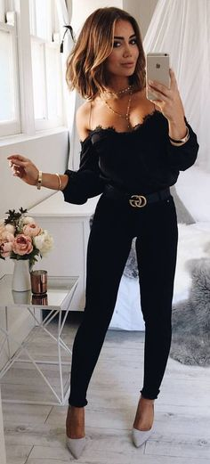 #spring #outfits Black Off The Shoulder Top + Black Skinny Jeans + Grey Pumps